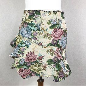 Zara Woman Tapestry Mini Skirt Floral Raw Hem